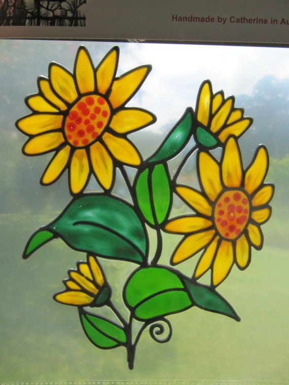 Sunflower Suncatcher Window Sticker Decal Stained Glass