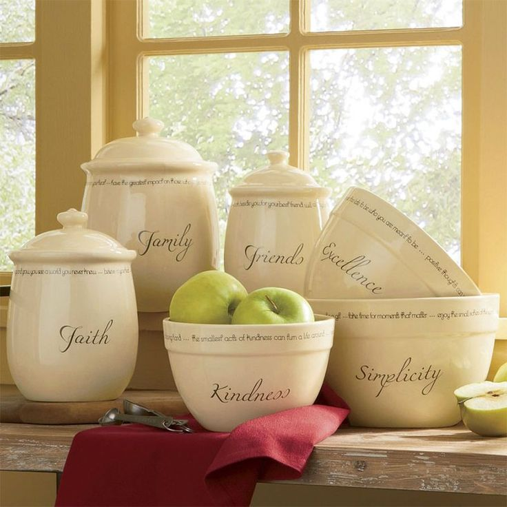 Contain Yourself  Countertop kitchen canisters fit right in with the farmhouse look. Fill mason jars, large glass canisters or apothecary jars with often-used items, from flour and sugar to cookies and trail mix. Use unusual everyday items in place of traditional vases, such as a milk pitcher or a galvanized steel bucket.