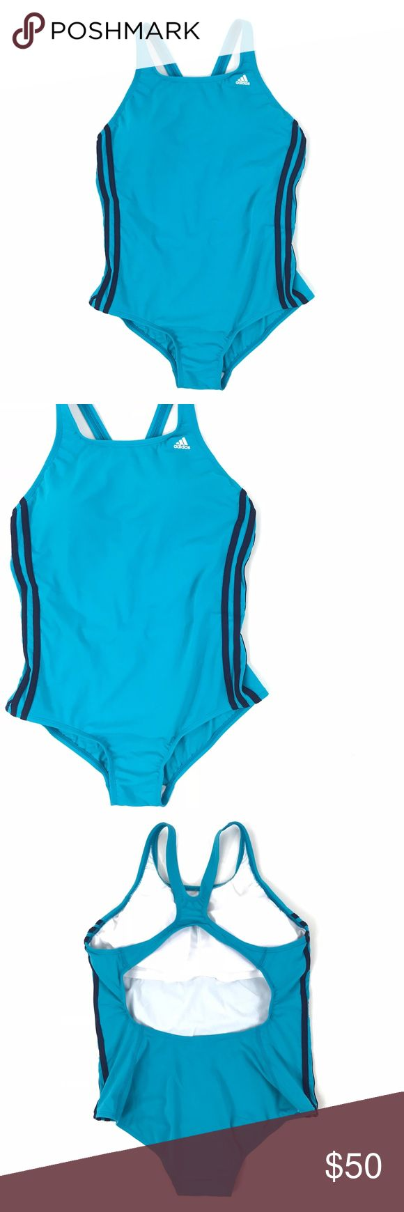 Adidas Shock Mint Stripe One-Piece Swimsuit Adidas Womens Sz 14 Shock Mint 3 Stripe One-Piece Swimsuit Racerback Padded Bust  New with tag! Brand new and color  Color - Shock Mint Material - 100% Polyester Size - 14 adidas Swim One Pieces