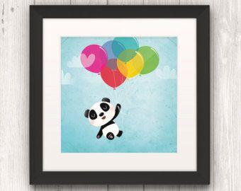 kids panda decorating | print, kids illustration, panda art, nursery wall art, kids room decor ...