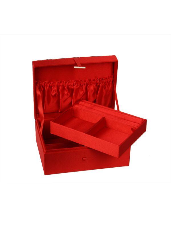Fraai Chinees opbergdoosje van Brokaat stof. Met handige vakjes. In de kleuren rood, turquoise, zilver of blauw. €15,95.