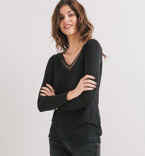T-shirt détail dentelle Femme noir - Promod