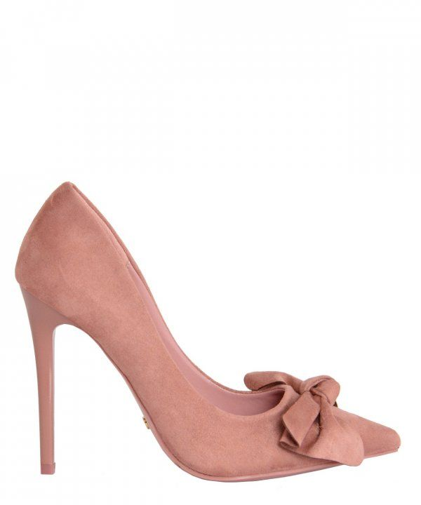Γυναικείες μυτερές γόβες ροζ με φιόγκο PG353 #torouxo #γυναικειαπαπουτσια