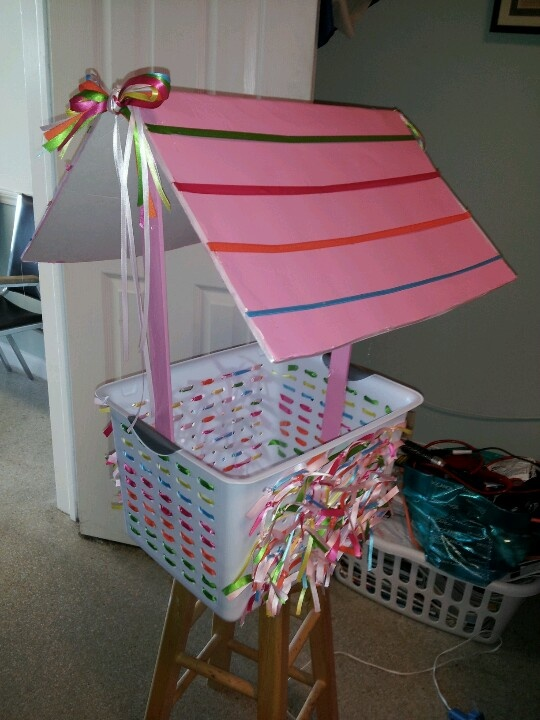 Wishing Well For A Baby Shower. Basket From The Dollar Store. Ribbon To  Match
