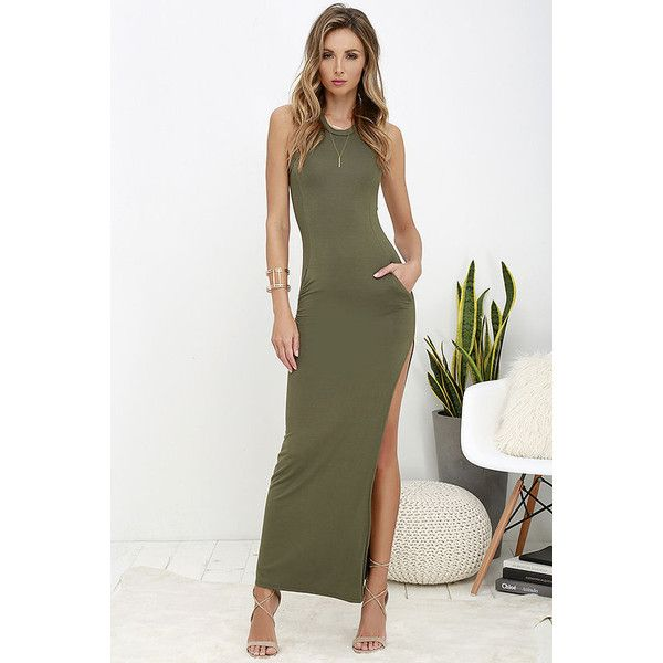 Shield and Sword Olive Green Sleeveless Maxi Dress ($40) ❤ liked on Polyvore featuring dresses, green, white maxi dress, side slit maxi dress, fitted dresses, sleeveless maxi dress and lulus dress