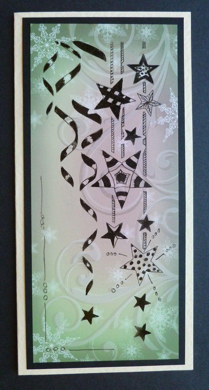 'Tangled Ribbons & Stars Christmas Card. - Imagination Craft's- Patterned background card.  Ribbon & Stars panel stencil.  Black fine liner pen.  June 2014.   Designed by Jennifer Johnston.