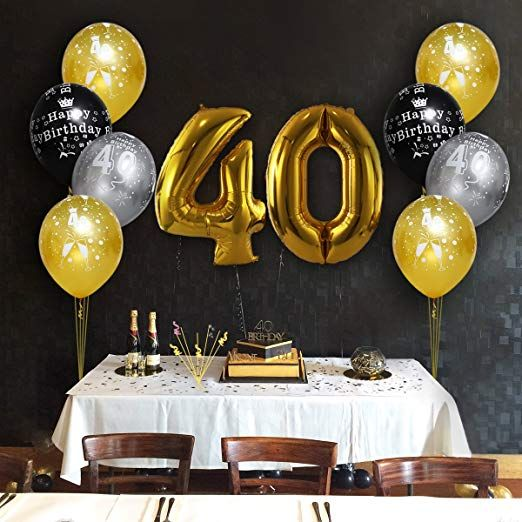 999 Amazon Unomor 40th Birthday Decorations With Balloons In Black Silver And Gold For Supplies 30 Pack Health Personal