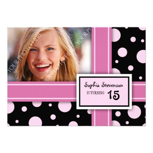 15th Birthday Party Invitation Pink Black Dots