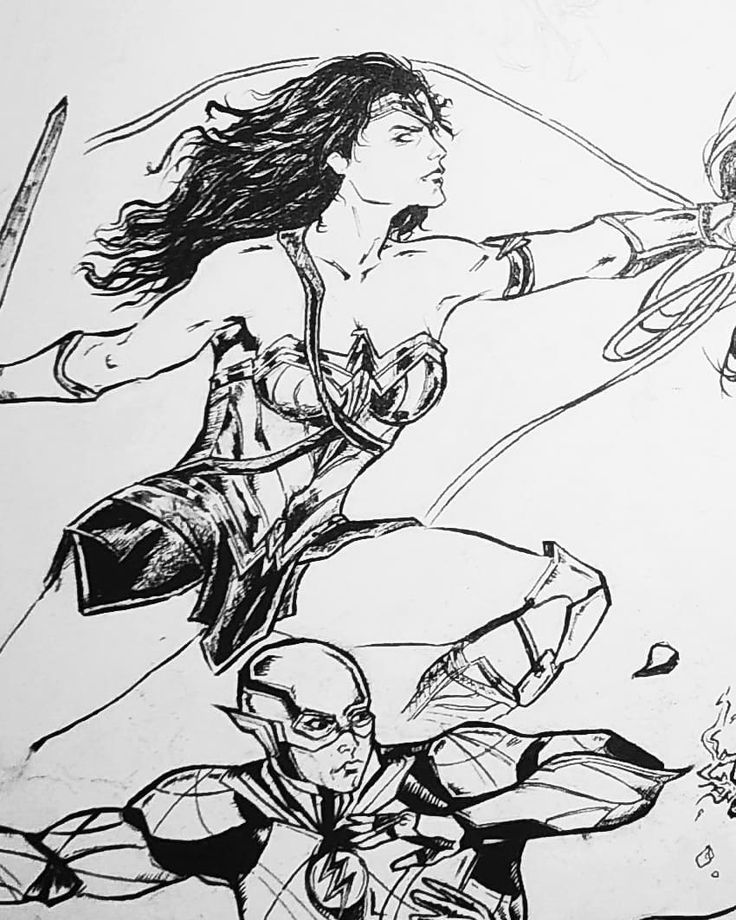 Wonder Woman & The Flash... #inking #fanart #drawing #ink #art #pencil #brush #comics #comicart #dccomics #comicillustration #justiceleague #justiceleaguemovie #wonderwoman #theflash #themyscira #practice