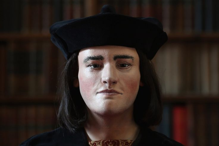 A facial reconstruction based on the skull of King Richard III is unveiled by the Richard III Society, in London on Feb. 5, 2013.