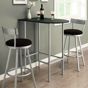 Space Saver Dining Room Bar Table With 2 Swivel Stools