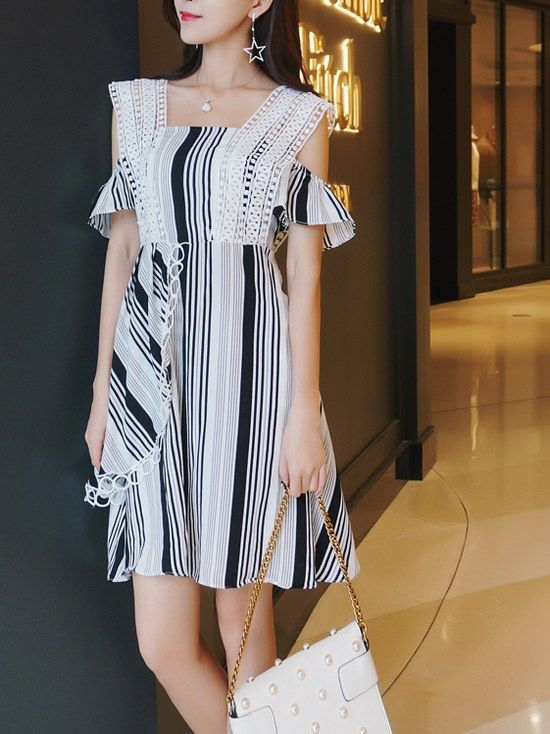 Dew Shoulder Lace Matching Stripe Dress _Short Sleeve Dress_DRESSES_Wholesale clothing, Wholesale Clothes Online From China