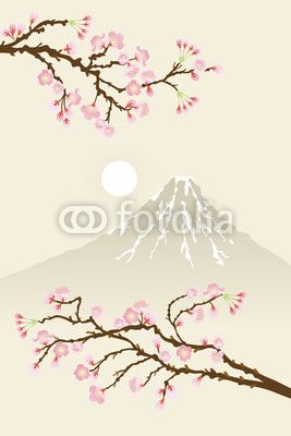 """Wall Mural """"vector, sunrise, elegance - sakura_fuji"""" ✓ Easy Installation ✓ 365 Days Money Back Guarantee ✓ Browse other patterns from this collection!"""