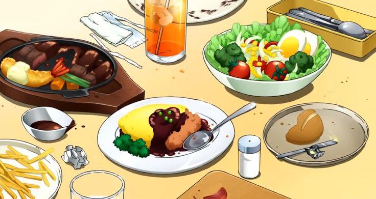 Family restaurant food! Omurice, salad fries, steak, ebi fry! Noragami, Episode 3