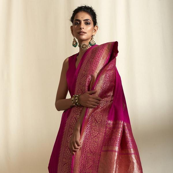 Handwoven Pink and Gold Silk Saree with Kadhwa Boota