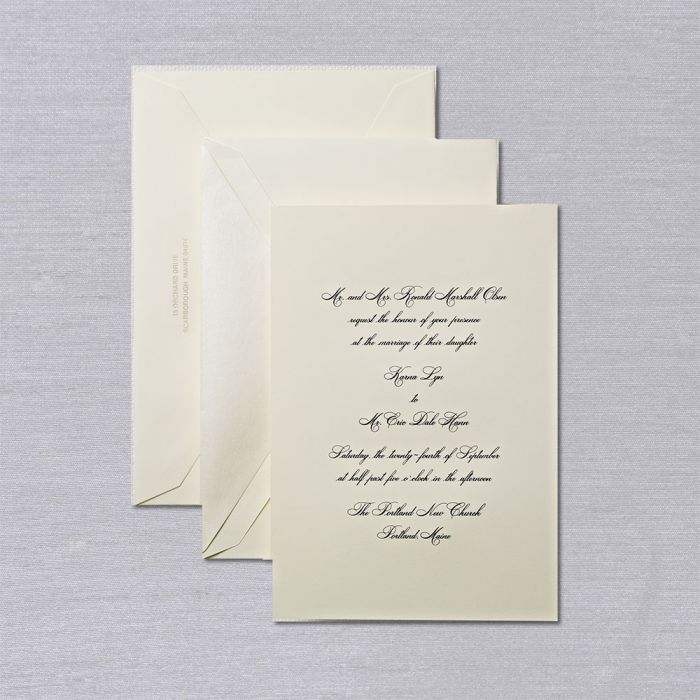 Lovely Simple Elegant And Just A Little Different But Pricy Engraved Ecru Roya Crane Wedding Invitations Engraved Wedding Invitation Wedding Invitations
