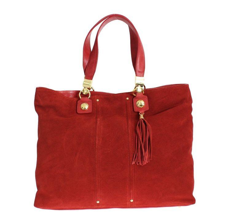 Gianfranco GF FERRE Red Suede Satchel Shoulder Handbag #bag #black #cf-color-red