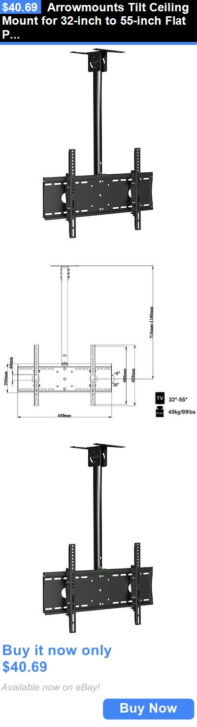 TV Mounts and Brackets: Arrowmounts Tilt Ceiling Mount For 32-Inch To 55-Inch Flat Panel Tv BUY IT NOW ONLY: $40.69