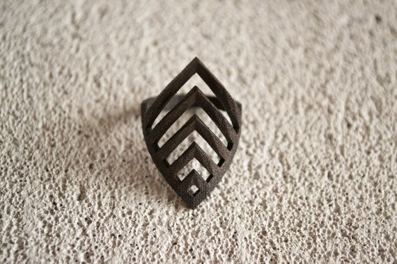 Unique Matte Black 3D Printed Ring. Geometric black by MBDdesign