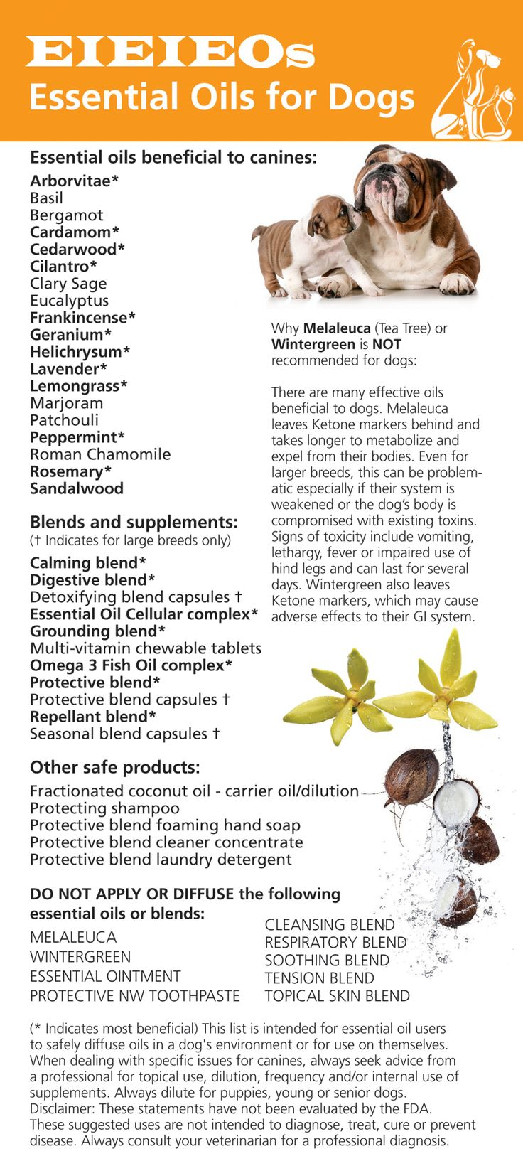 Essential oils safe to diffuse in a dog's environment. Please read disclaimer