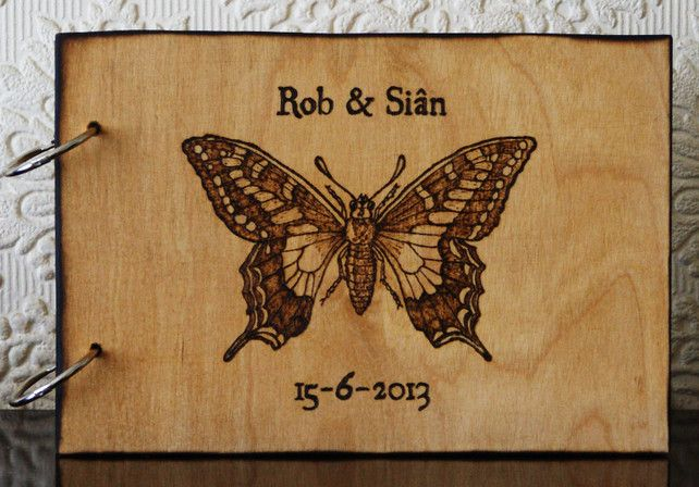 butterfly pyrography | ... custom wedding guest book, butterfly design. Pyrography wood burning