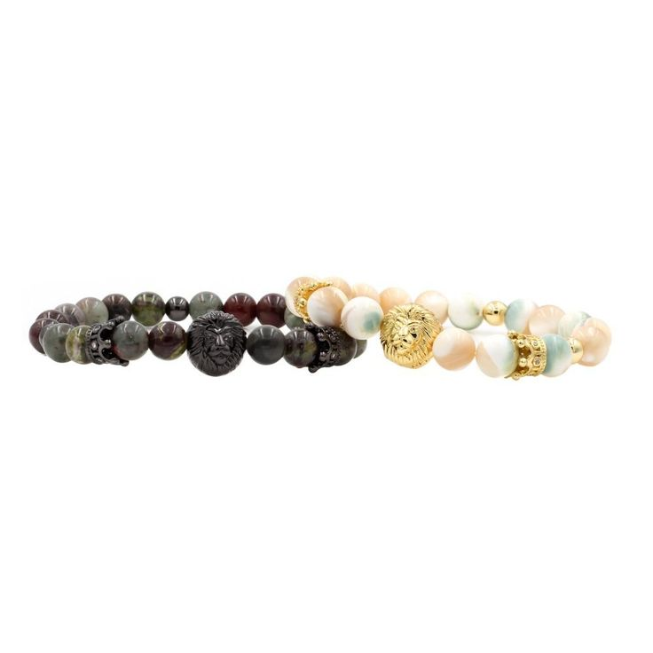 Couple's Lion Bracelet with Dragon Bloodstone and Ivory Pearls