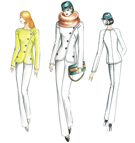 Marfy Jacket F2271. I had an asymmetrical placket suit jacket that I loved.  The raglan sleeves are an interesting detail.