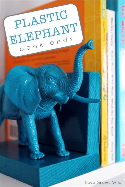 Plastic Elephant Book Ends from www.lovegrowswild.com | Easy tutorial to turn dollar store toys into adorable books ends! #diy #decor #bookend