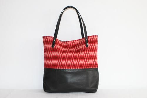 Black Leather Tote Bag with Red Cotton Print