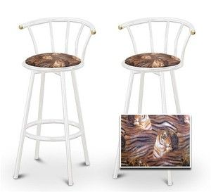 2 Tiger Face Animal Print Specialty / Custom White Barstools with Backrest Set