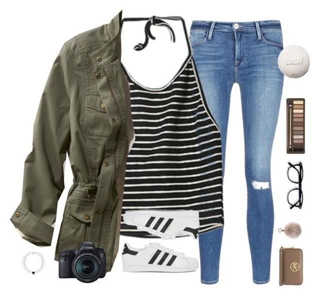 """""""social medias in the d"""" by typical-lizzie ❤ liked on Polyvore featuring Frame, StyleNanda, L.L.Bean, adidas Originals, MICHAEL Michael Kors, Oscar de la Renta, Urban Decay, Eos and plus size clothing"""