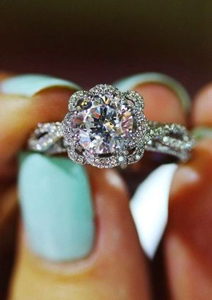 diamond cut round vintage wedding engagement rings
