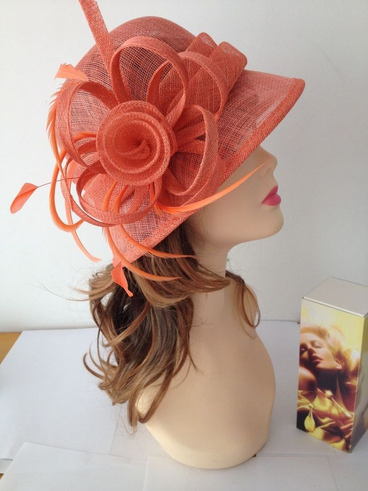 NEW Kentucky Derby Church Easter Ascot Sinamay Small Brim Dress Orange Hat #handmade #dresschurchweddingkenturkeyderbytea