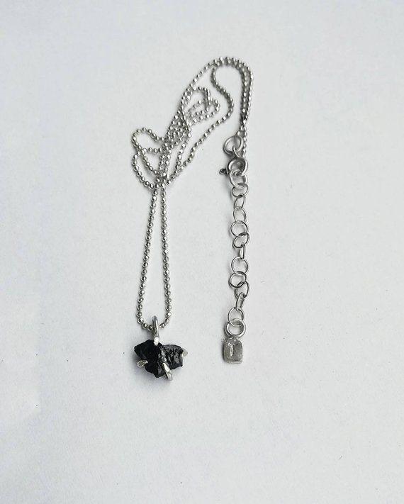 347752a52c3 Black tourmaline gemstone necklace, handmade set in silver, elegant ...