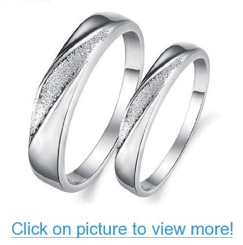 His $ Hers Matching Set Platinum Plated Couple Ring Wedding Band Set Simple Korean Style(Available Sizes 5# to 10#)