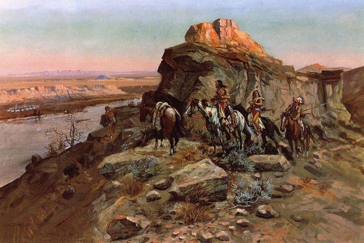 Charles Marion Russell Paintings | Send eCard - Russell Charles Marion Planning the Attack