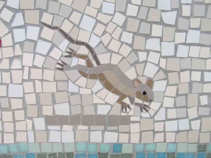 mouse mosaic detail from shepherdess walk  hackney london
