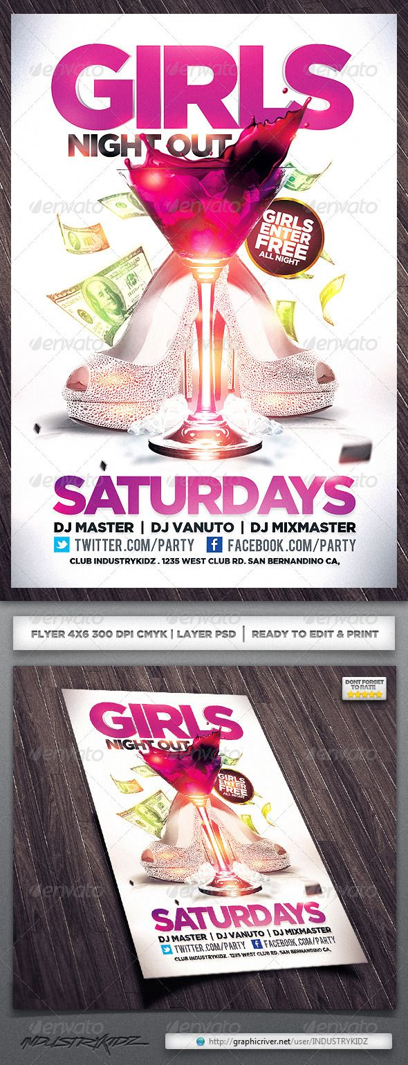 best images about party flyers musicals techno girls night out flyer graphicriver item for