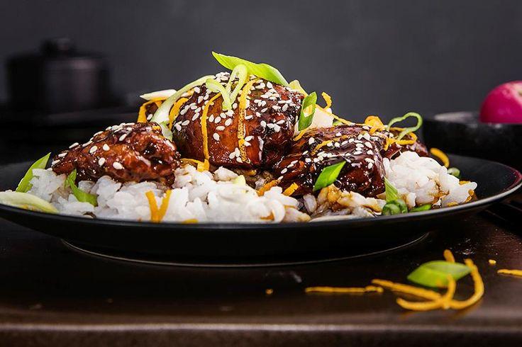 Oppskrift på asiatisk kylling Sticky asian glazed chicken.