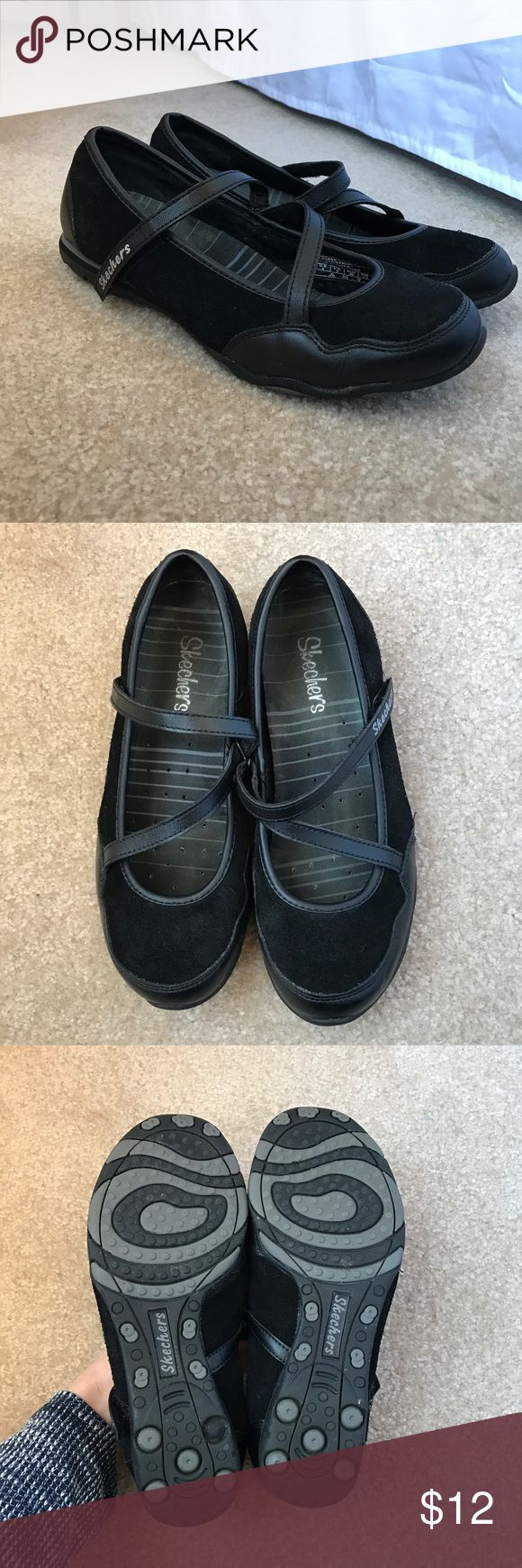 Skechers Mary Jane Flats In great condition Skechers Mary Jane style flats. Criss cross straps and great support. Only worn a few times inside working at a spa. Size 6. Skechers Shoes Flats & Loafers