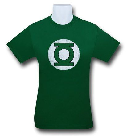 "This is the Green Lantern Symbol purposely distressed on a (hard to believe) green T-Shirt. Hal Jordan, Green Lantern of Earth and other ""local"" star systems, flies a little too low to the ground on occasion, roughing up that once pristine Green Lantern Symbol. If only Sinestro could let his hair down a bit and..........oh, wait......I think he's about to be.....executed...or something. Ok, scratch that."