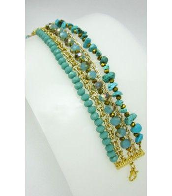 Pulsera dorada con cristal de murano y piedras semipreciosas howlite turquesa finas joyas  Accesorios para mujer  www.hogla.com.co