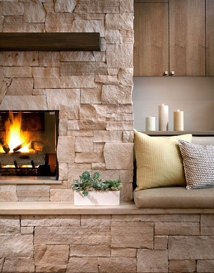 Neat Fireplace Idea With Bench Seating Great Rooms
