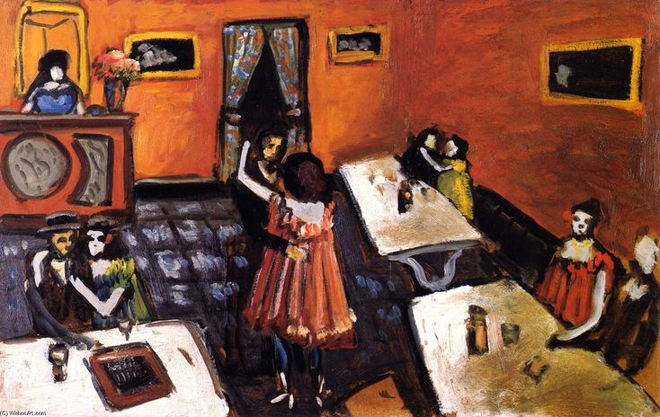 """""""Couples in a Bistro"""", Oil On Canvas by Auguste Chabaud (1882-1955, France)"""