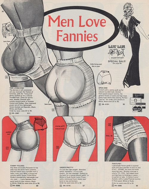 "Men Love Fannies 1973 Frederick's of Hollywood catalog.  (In Britain, ""fanny"" is slang for the vagina area not the rear end.)"