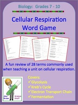 FREE!  Cellular Respiration Word Game Review.  Cellular respiration is one of the hardest topics a biology teacher has to teach during their course. Its very abstract nature makes it particularly hard for many students to comprehend. TIP:  Make the review into a game.  Even high school students are more interested when the review is in a game or puzzle format.