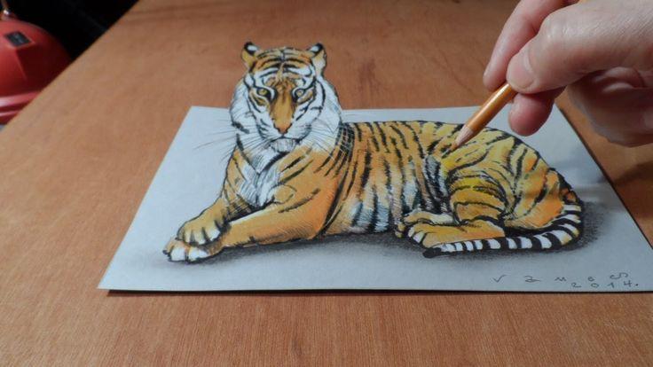 Trick Art, Watch my Draw a 3D Tiger, Time Lapse