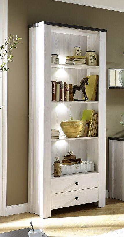 Moderne brocante boekenkast Maison met LED verlichting en twee laden