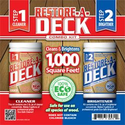 Restore-A-Deck is the only product on the market that offers both a Step 1 Deck Cleaner and a Step 2 Deck Brightener in the same kit. Restore-A-Deck comes in a powdered concentrated formula. Each 2 lb container makes 5 liquid gallons. Simply pour each into a five gallon container and add water ...