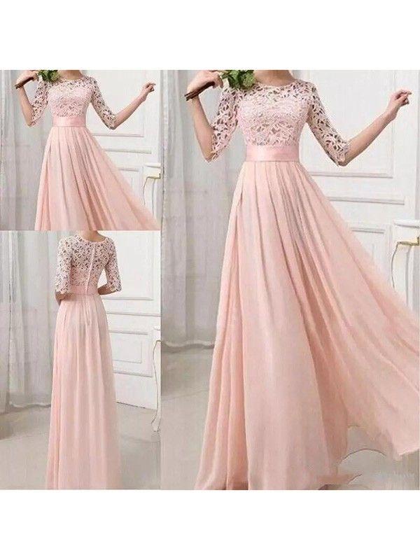 Rosa Damen Langarm Spitze Maxikleid Lange Abendkleid Elegante Brautjungfern Kleider Gunstig Trauzeugin Kleid Abendkleid Brautjungfern Kleider